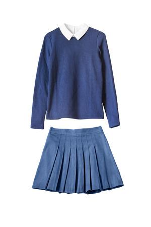 青い少女の学校制服白で分離 写真素材
