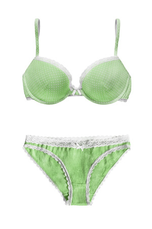lacy: Green lacy lingerie set on white background Stock Photo