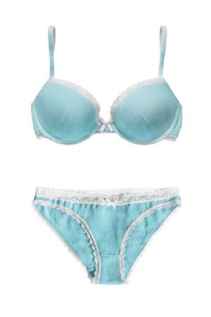 cotton panties: Blue lacy lingerie set isolated over white