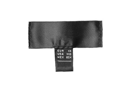 sew tags: Black silk size label on white background
