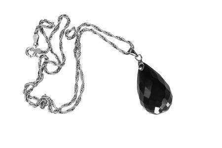 black onyx: Black onyx pendant on white background
