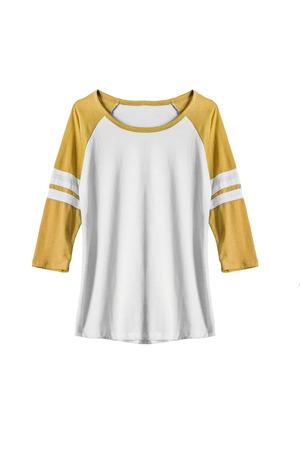 sweatshirt: Sweatshirt with yellow sleeves on white background Stock Photo