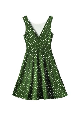 白で分離した水玉模様の緑のサンドレス