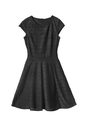 formal dress: Black sleeveless dress isolated over white