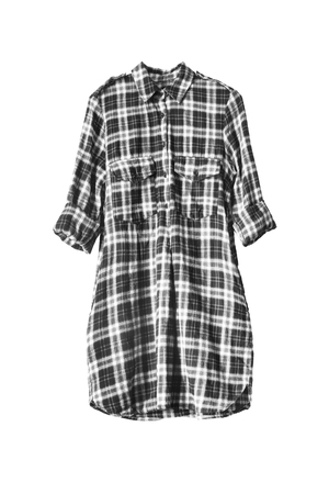tunic: Black and white plaid tunic isolated over white