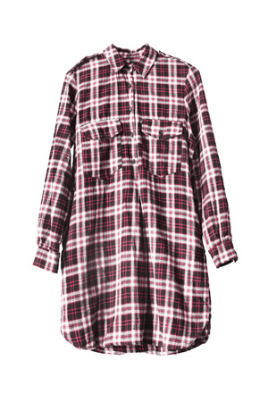 red plaid: Red plaid shirt dress on white background Stock Photo