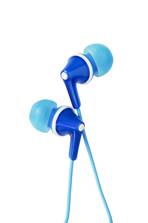 hands free device: Blue wired earphones on white background