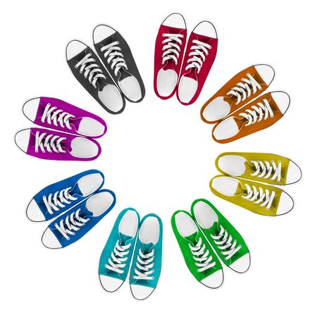 lacing sneakers: Set of colorful gumshoes on white background