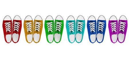 白地にカラフルなための半靴の六つのペア