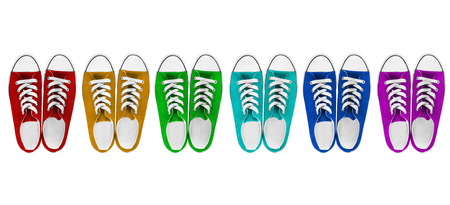 lacing sneakers: Six pairs of colorful gumshoes on white background