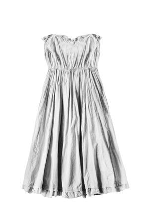 draped: White draped  empire dress on white background Stock Photo