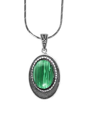 malachite: Malachite silver vintage medallion isolated over white Stock Photo