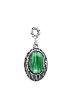 malachite: Silver malachite pendant on white background