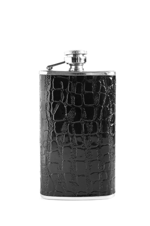 hip flask: Black leather hip flask isolated over white