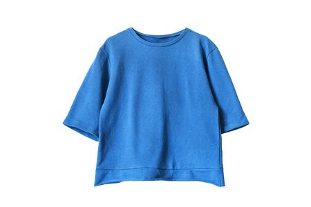 sports clothing: Blue blank cotton sweatshirt isolated over white Stock Photo