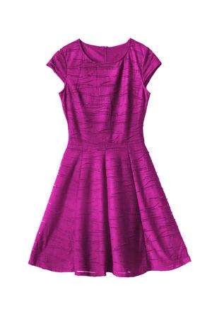 白い背景にマゼンタ ピンクのノースリーブ ドレス
