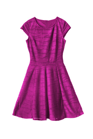 Magenta pink sleeveless dress on white background