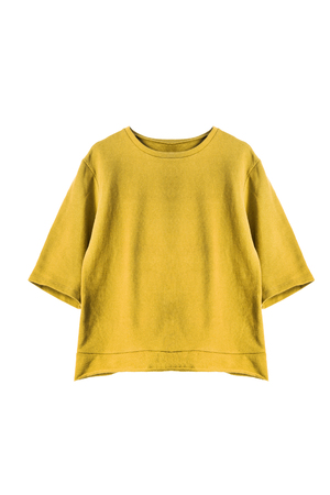 sweatshirt: Yellow casual sweatshirt on white background