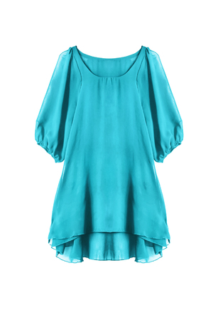 Blue chiffon dress isolated over white Stock Photo