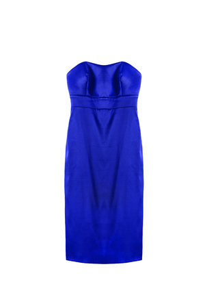 satin dress: Blue silk strapless  evening dress isolated over white