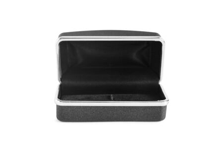 metal box: Black empty metal box on white background