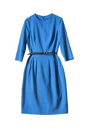 エレガントな青いドレス ホワイト バック グラウンドで