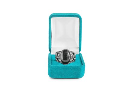 black onyx: Black onyx ring in blue box isolated over white
