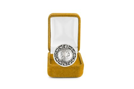 jewel box: Astrology zodiac silver ring in jewel box isolated over white
