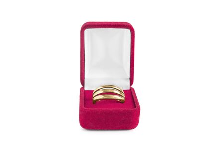 jewel box: Golden ring in red jewel box isolated over white