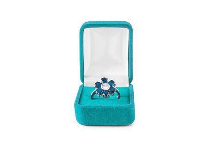 jewel box: Topaz ring in the shape of flower in jewel box