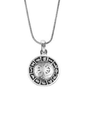 medallion: Silver zodiac medallion on a chain isolated over white