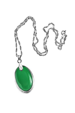 medallion: Emerald medallion on silver chain isolated over white