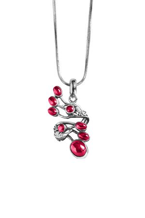ruby: Beautiful ruby silver pendant on white background