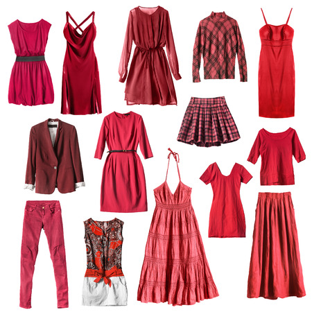 mini dress: Group of red female clothes isolated over white