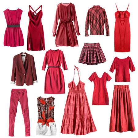 bata blanca: Grupo de ropa femenina de color rojo aislado en blanco