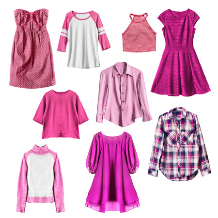 magenta dress: Group of pink female clothes on white background