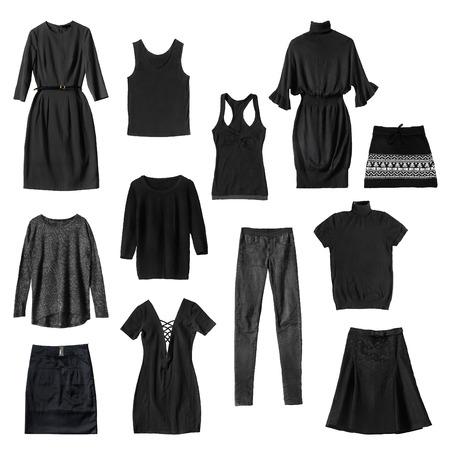 mini skirt: Ensemble de noir des v�tements f�minins sur fond blanc Banque d'images
