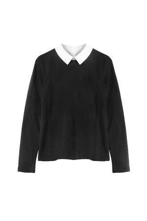 formal dressing: Black pullover with white collar on white background