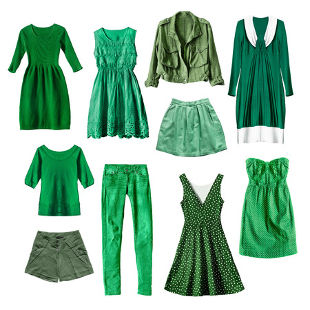green clothes: Set of green female clothes on white background