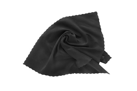 draped cloth: Draped black silk handkerchief isolated over white