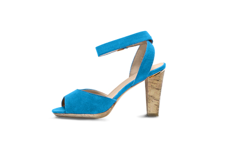 walk in closet: Blue velvet high heeded shoe on white background