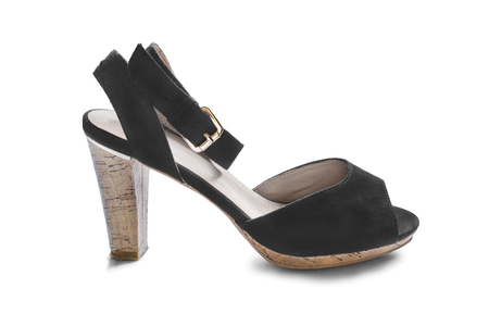 walk in closet: Black high heeled shoe on white background Stock Photo