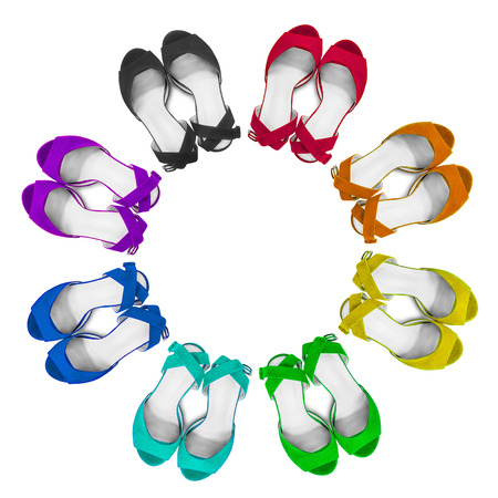 Set of colorful female sandals on white background Stock Photo