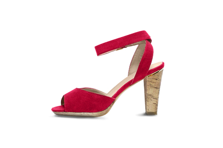 heel strap: Red high heeded shoe on white background Stock Photo