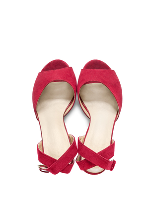 walk in closet: Red shoes with straps isolated over white