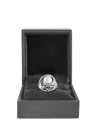 jewel box: Pearl silver ring in jewel box isolated over white