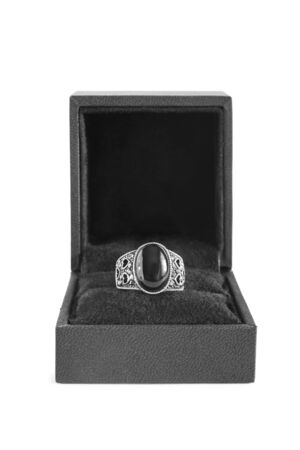 black onyx: Black onyx silver ring in jewel box isolated over white Stock Photo