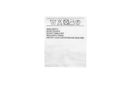 docket: Washing instructions label isolated over white