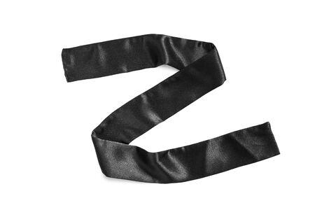 black satin: Black satin ribbon isolated over white Stock Photo