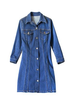 白分離ボタン付きデニム ブルー ドレス 写真素材